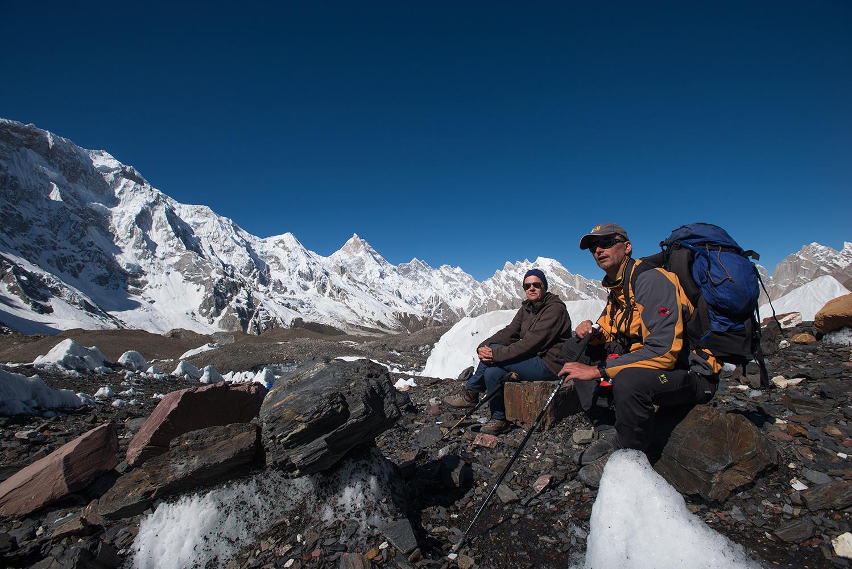 Kristof Kinget & Caroline Mattelaer with Masherbrum beyond. Taken near Goro on the hike up to Concordia