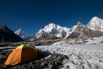 This was my fourth time here, and we were blessed with crystal clear conditions and settled weather. Here is my tent, with K2, Broad Peak (Falchan Kangri) and Gasherbrum IV beyond. A little chilly in the evening but...