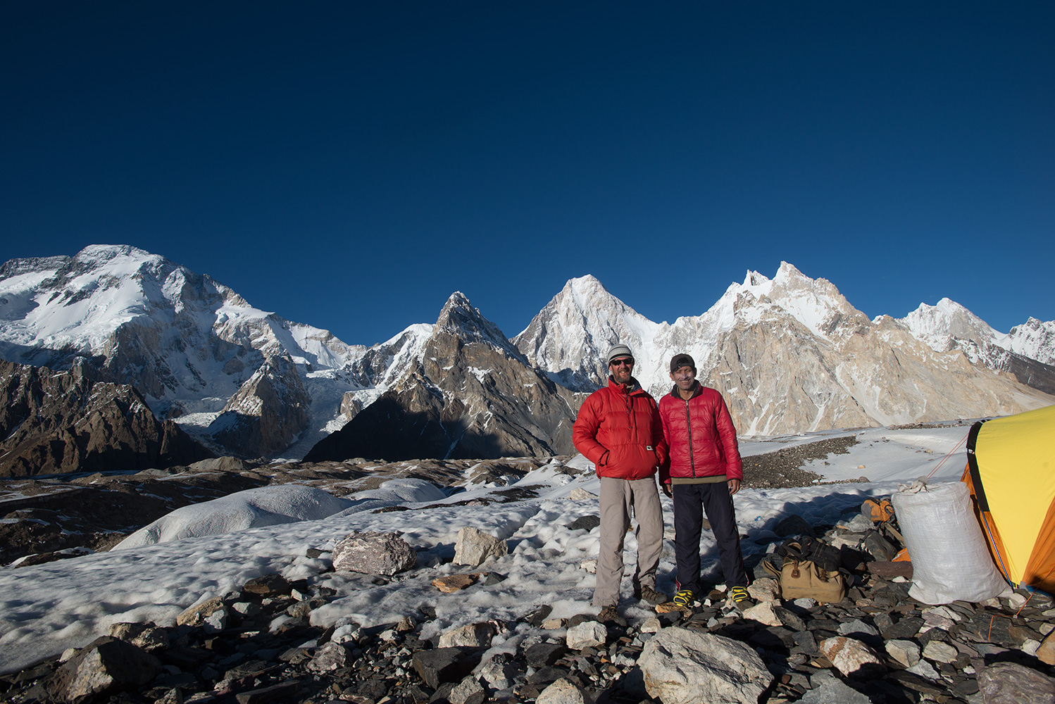 With Yahya Khan on a perfect afternoon. Broad Peak and Gasherbrum IV beyond