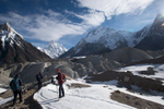 The way from Concordia to Broad Peak and K2 base camps