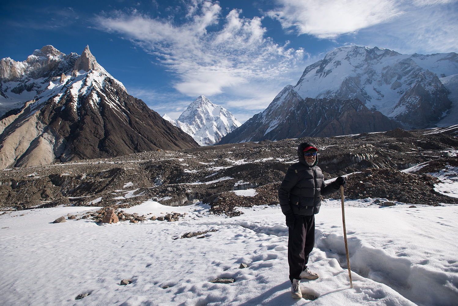 Mohammed Ali of Hushe is happy to be almost through the gnarly ground near Concordia and out onto the much easier surface of the Godwin Austen glacier for the rest of the journey to Broad Peak and K2 base camps...