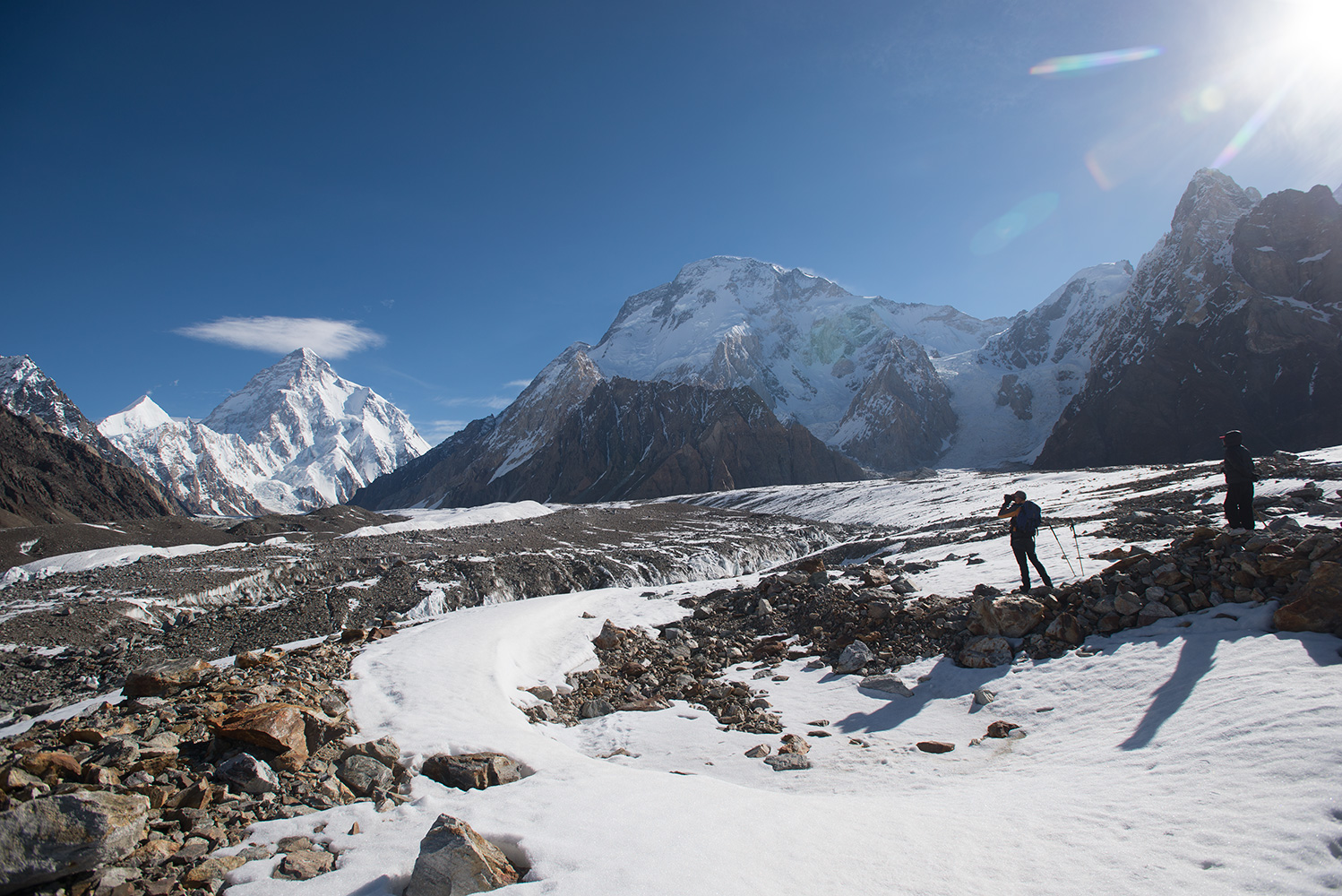 Easy ground at last! Broad Peak (8051m) directly ahead, with K2 (8611m) and Savoia Kangri (7286m) to the left.