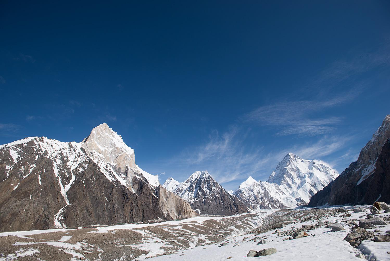 With Marble Peak on the left and Savoia Kangri the snow pyramid beneath K2