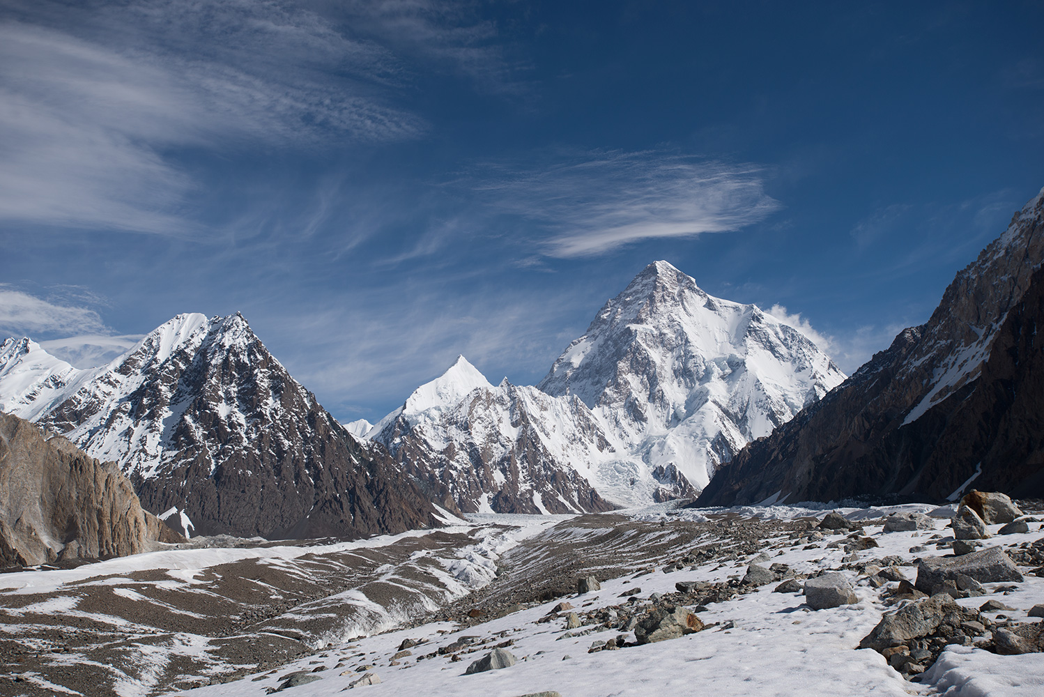 A 35mm shot from the same place as the previous picture.K2 and Savoia Kangri ahead.