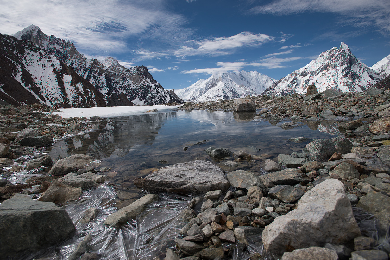 Chogolisa and Mitre Peak reflected in a glacial pool