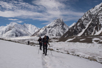 With Chogolisa on the left, the confluence of the Vigne and Baltoro glaciers, Mitre Peak and Concordia beyond