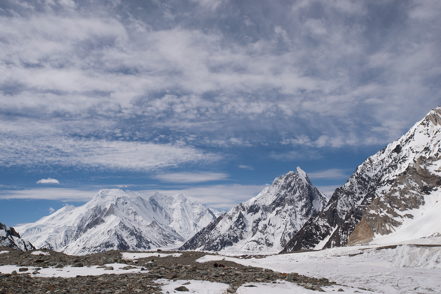 A view to Chogolisa, Mitre Peak etc from the approach to Broad Peak base camp.