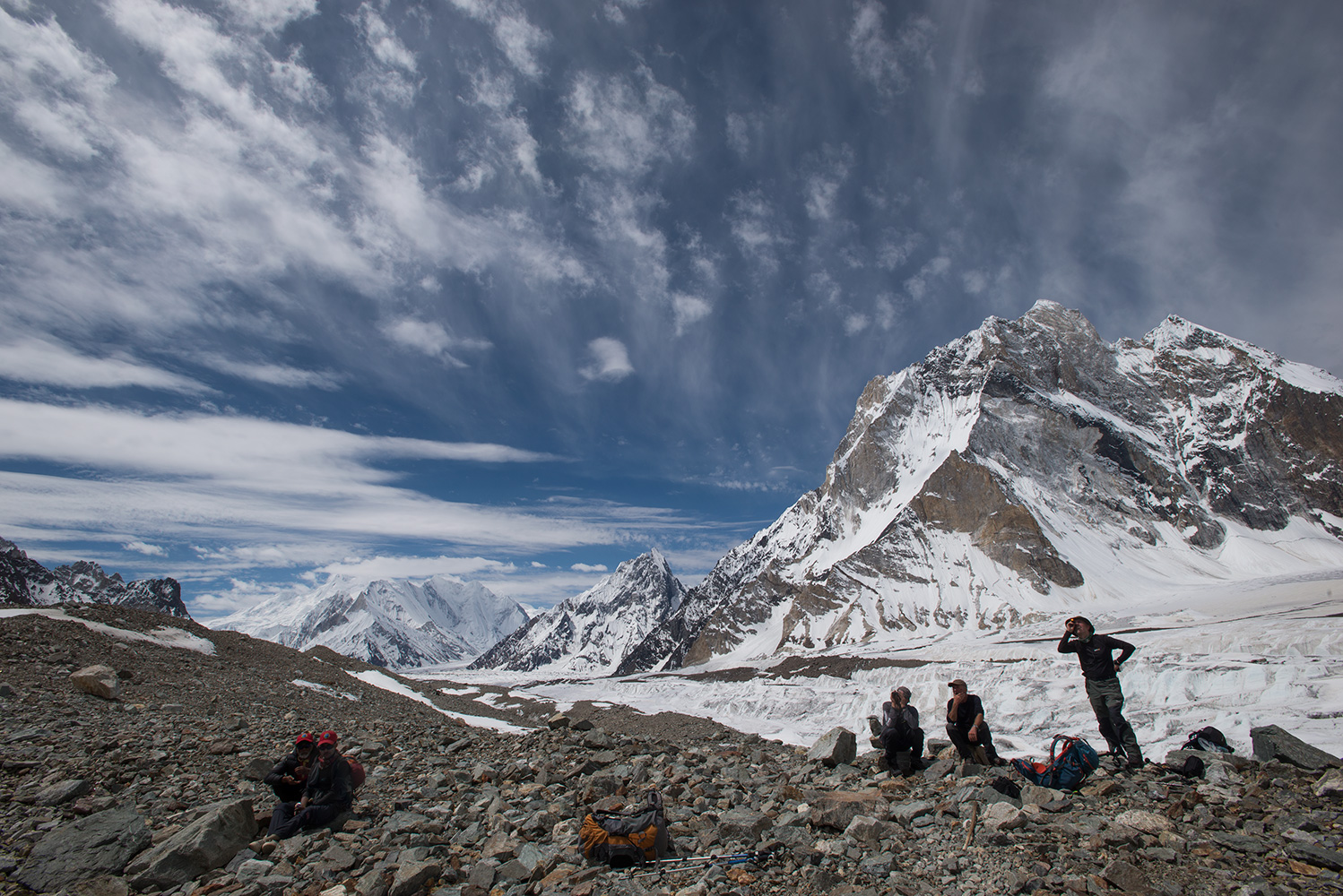 As you come into Broad Peak base camp it becomes clear why Marble Peak (6256m) is so called!