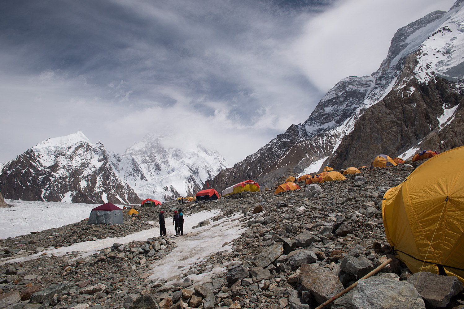 With K2 disappearing into the afternoon cloud beyond