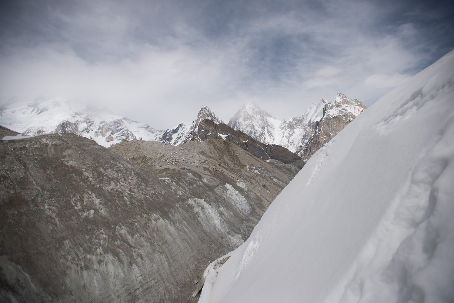 Tricky ground on the approach to Concordia on our return from Broad Peak base camp. Gasherbrum IV above.