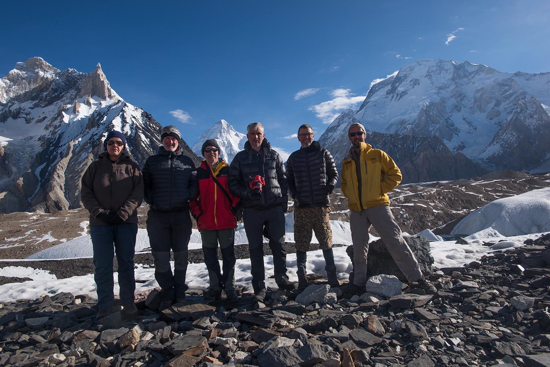 Taken on the morning we left. K2 beyond.Carline Mattelaer, Jim Hartell, Sandy Masson, Kristof Kinget, Glenn Cunningham, Steve Razzetti