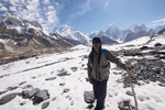 On the Baltoro Glacier above Goro, with Broad Peak and Gasherbrum IV etc beyond.
