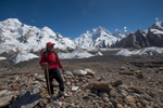 On the Baltoro glacier at Goro with Masherbrum beyond. His home village lies on the other side of that mountain.