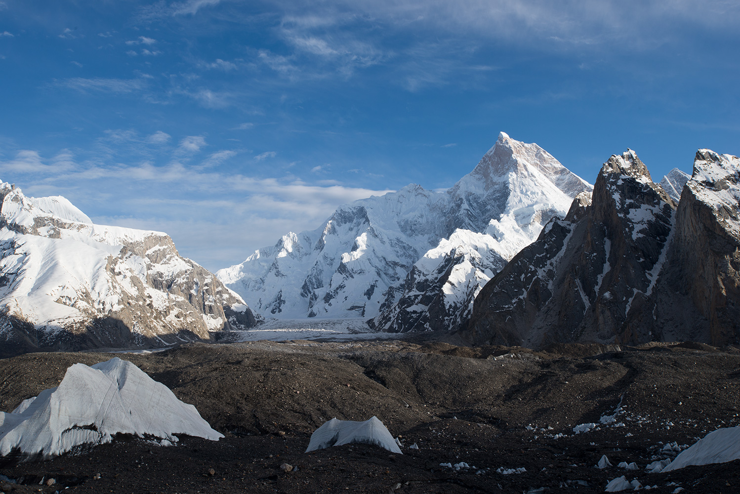 From the Baltoro glacier near Shokspong (Goro 1)