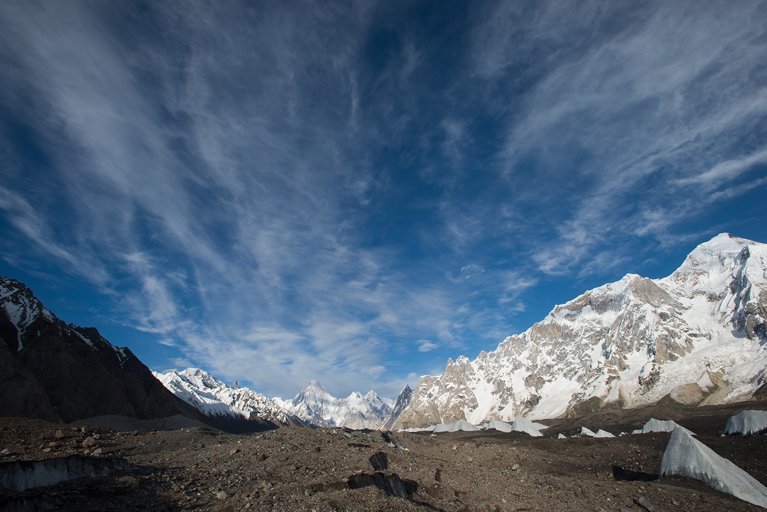 A view up the glacier from Shokspong (Goro 1) with Gasherbrum IV straight ahead and Biarchedi (6781m) on the far right