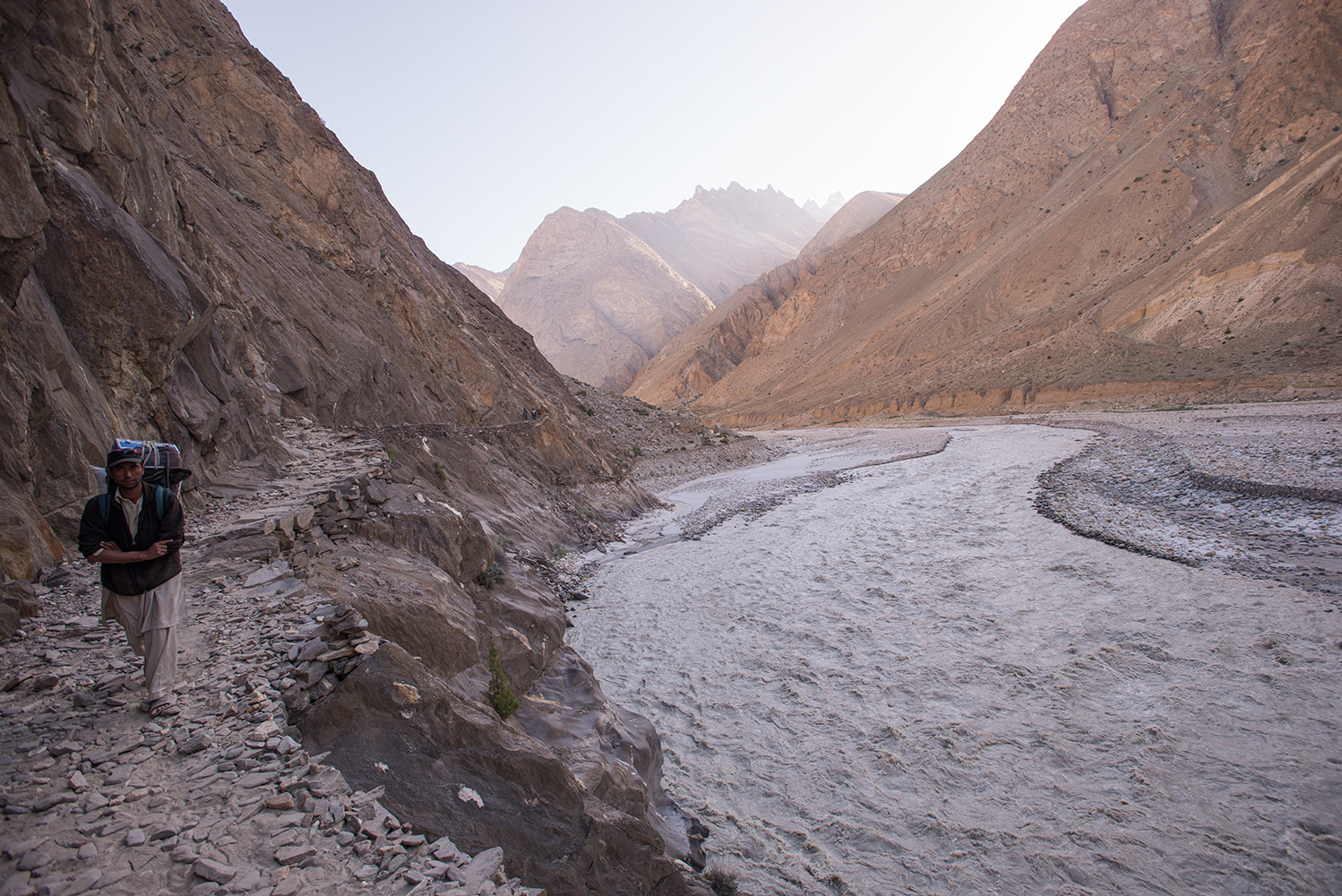 On the new trail between Korophon and Jhola camps. This is the river flowing from the Panmah Glacier