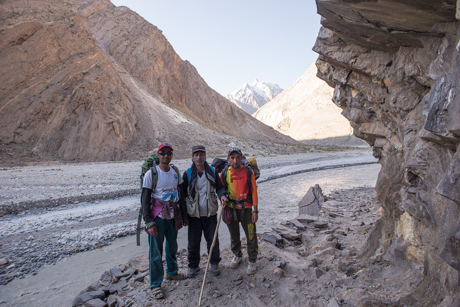Nearing the end of our trek - the new trail around the base of the cliffs between Jhola and Khorophon. Just three hours from Askole.