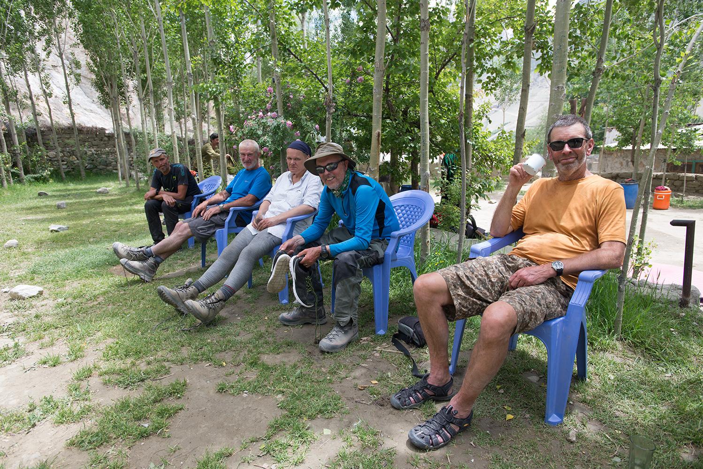 Relaxing in Haji Mehdi's garden / camp site at the end of the trek. Kristof Kinget, Jim Hartill, Carlone Mattelae, Sandy Masson & Glen Cunningham.