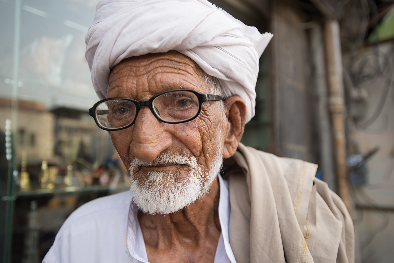An almost blind man I met in Saddar Bazaar. His handshake was firm!