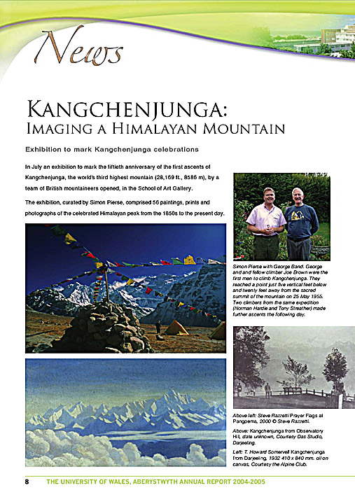 A page from the University's Annual Report detailing the exhibition held there and at The Alpine Club celebrating the 50th anniversary of the first ascent of Kangchenjunga. The exhibition included a series of 12 of my prints and was curated bt Simon Pierce.