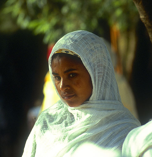 Dressed in the traditional white robes of the Ethiopian orthodox churchNikon F5, 180mm, Fuji Velvia 100