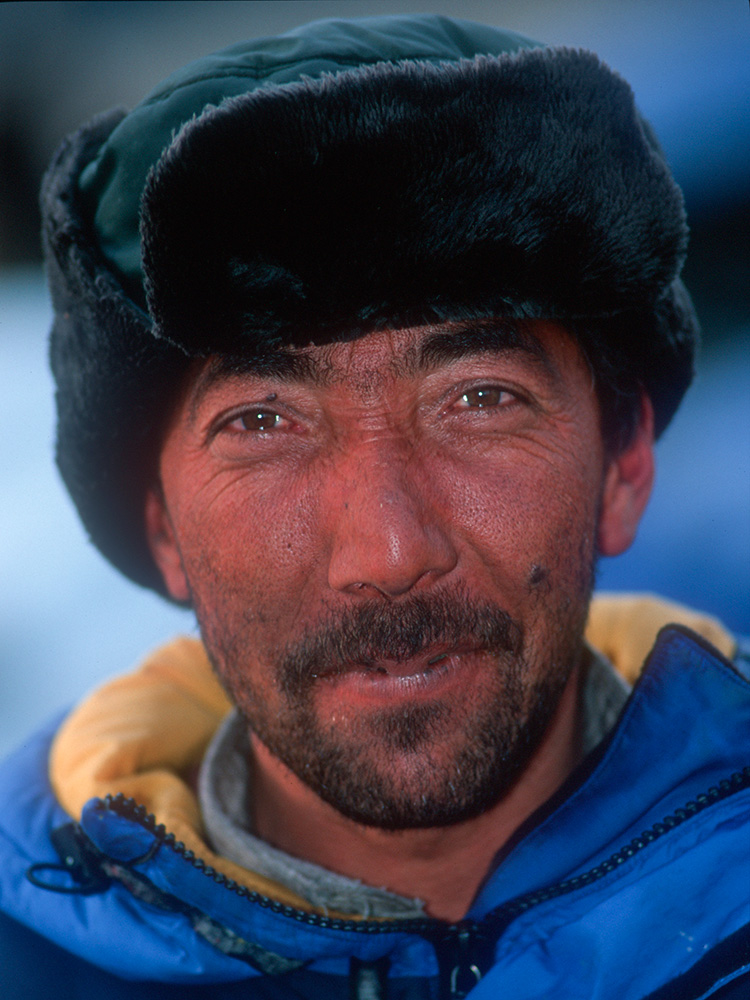 An old friend from the village of Hushe on the south side of Masherbrum, Mohd Ali stands fife feet eleven inches - a giant in Baltistan - and is known by his nicname {quote}Alam Chana{quote} after the tallest man in Pakistan.Nikon F5, 35mm, Fuji Velvia 100