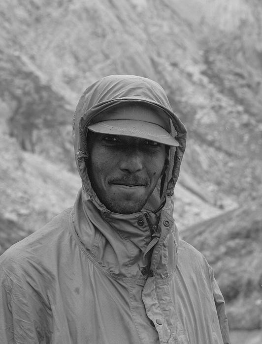 Portrait of a Balti porter on the Biafo glacier during a trek from Askole to Hunza via the Hispar PassBronica ETRSi, 70mm, Kodak T-Max 400 @ 800ASA