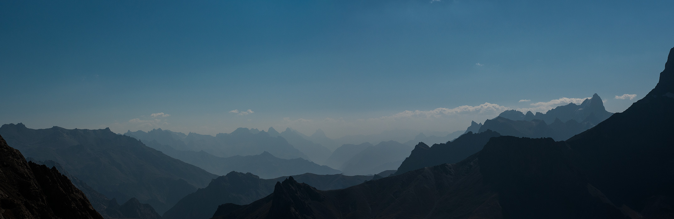 Panorama view east from the Alaudin Pass in the Fann Mountains, Tajikistan. September 2018.Nikon D300, 60mm. A stitch of three frames.