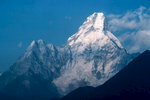 Arguably the most beautiful peak in the Khumbu, seen from Tengboche.Canon A1, 135mm, Kodachrome 64