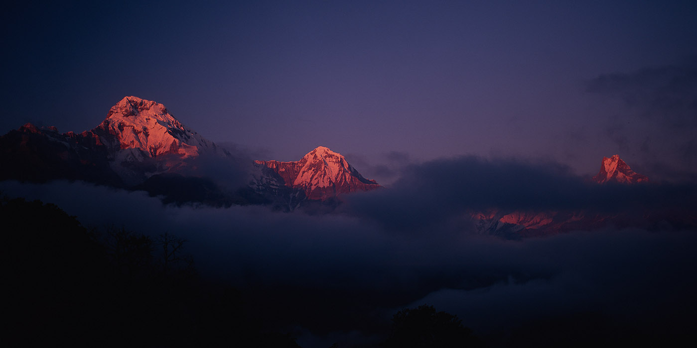 Annapurna South, Hiunchuli & Machhapuchhare (aka Fishtail)Project VeronicaMedium format images re-scanned in a professional glass film- holder with my Nikon Coolscan 9000 and Silverfast 8 software. These images display larger on the site - enjoy!Bronica ETRSi, 50mm, Fuji Velvia