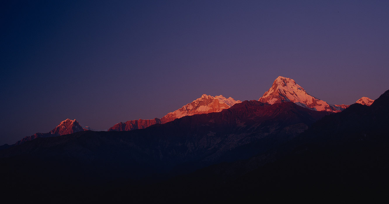 Annapurna 1 & Annapurna South at sunrise, from Poon Hill, GhorepaniProject VeronicaMedium format images re-scanned in a professional glass film- holder with my Nikon Coolscan 9000 and Silverfast 8 software. These images display larger on the site - enjoy!Bronica ETRSi, 50mm, Fuji Velvia