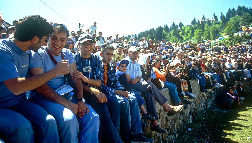 Crowds watching the bull-wrestling during the annual Kafkasor FestivalNikon F5, 17-35mm, Fuji Velvia 100