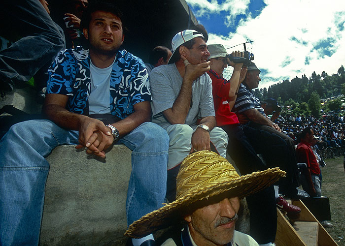 Watching the bull-wrestling at the Kafkasor FestivalNikon F5, 17-35mm, Fuji Velvia 100