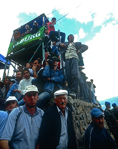 The crowd at the Kafkasor Festival, watching the bull-wrestlingNikon F5, 17-35mm, Fuji Velvia 100