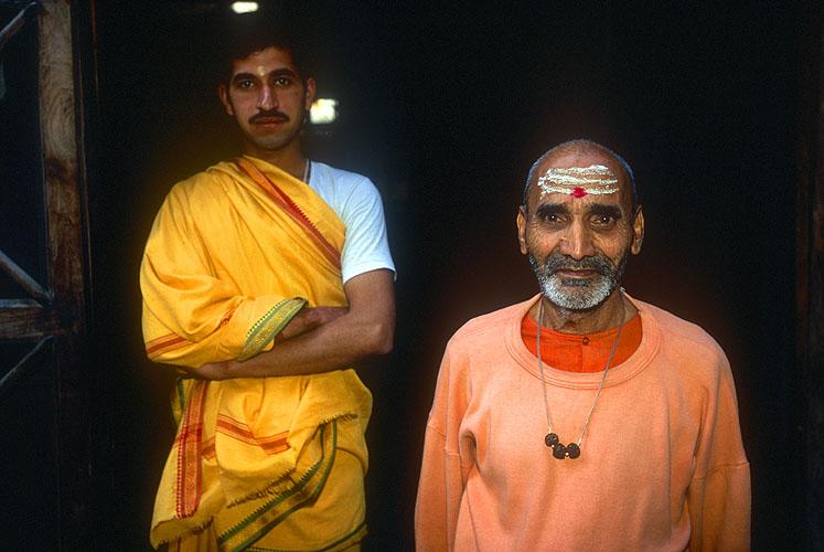Shankaracharya devotees at the Bhuma Niketan ashramNikon F5, 17-35mm, Fuji Velvia 100