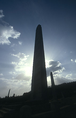 The precise purpose of these huge stelae is unknown, but Axum is claimed by Ethiopian scriptures to have been the seat of the Ethiopian kings as early as 4370BC. Archaeological evidence suggests that Axum dates from much later - around the first century ADNikon F5, 17-35mm, Fuji Velvia 100
