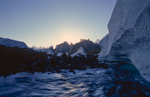 A glacial stream and the view down valley to the Trango towers and the Cathedral group