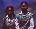 Sporting their finest jewelry, two Nyinba girls on the hike up to Raling Gompah for the Jeth Purna festival.Bronica ETRS, 75mm, Fuji Velvia