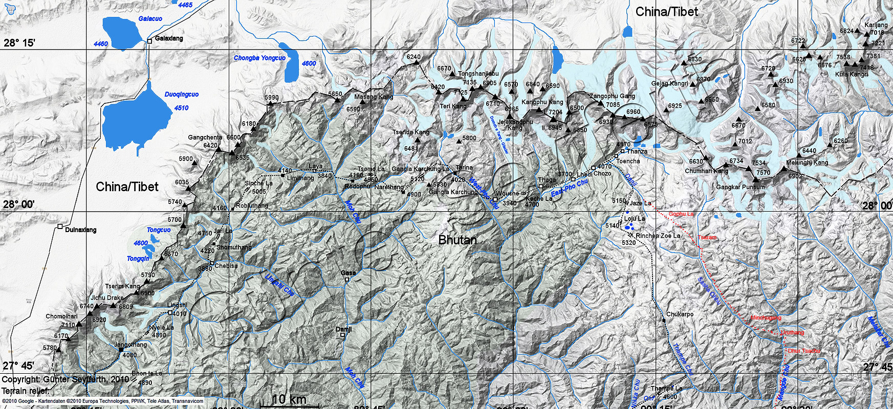 This map, courtesy of Günter Seyfferth, shows the entirety of the Snowman trek. I have appended the alternative route route from Thanza towards Bumthang via the Gophu La in red. Place locations are approximate!