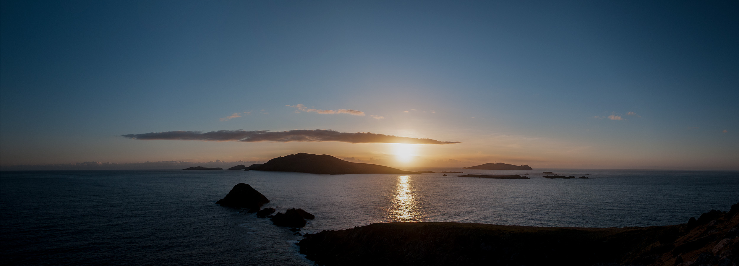 A panorama, at sunset. County Kerry, Republic of Ireland