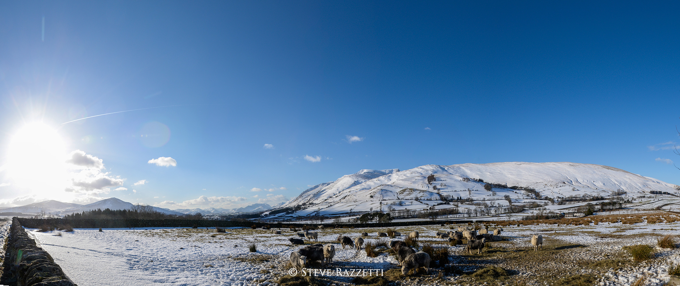 A bright winters morning in the Northern Fells. This is a panorama of four images.Nikon D610, 17-35mm