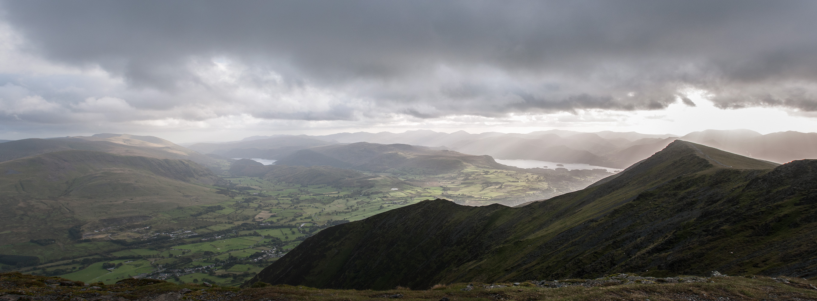 A panorama from the summit to Thirlmere & Derwentwater