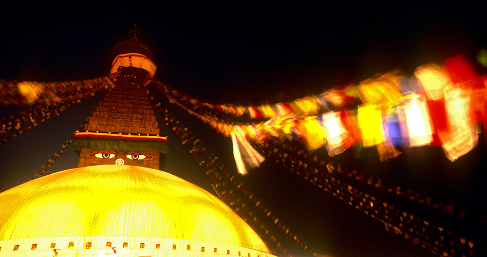 A night-time shot of this quintessential Nepalese iconNikon F5, 17-35mm, Fuji Provia 400