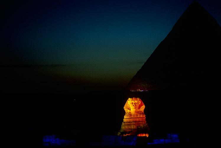 The Sphynx at Giza, floodlit at nightNikon F5, 180mm, Fuji Velvia 100