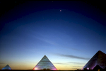The pyramids at Giza at duskNikon F5, 17-35mm, Fuji Velvia 100