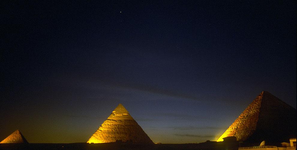 The pyramids at Giza after nightfallNikon F5, 17-35mm, Fuji Velvia 100