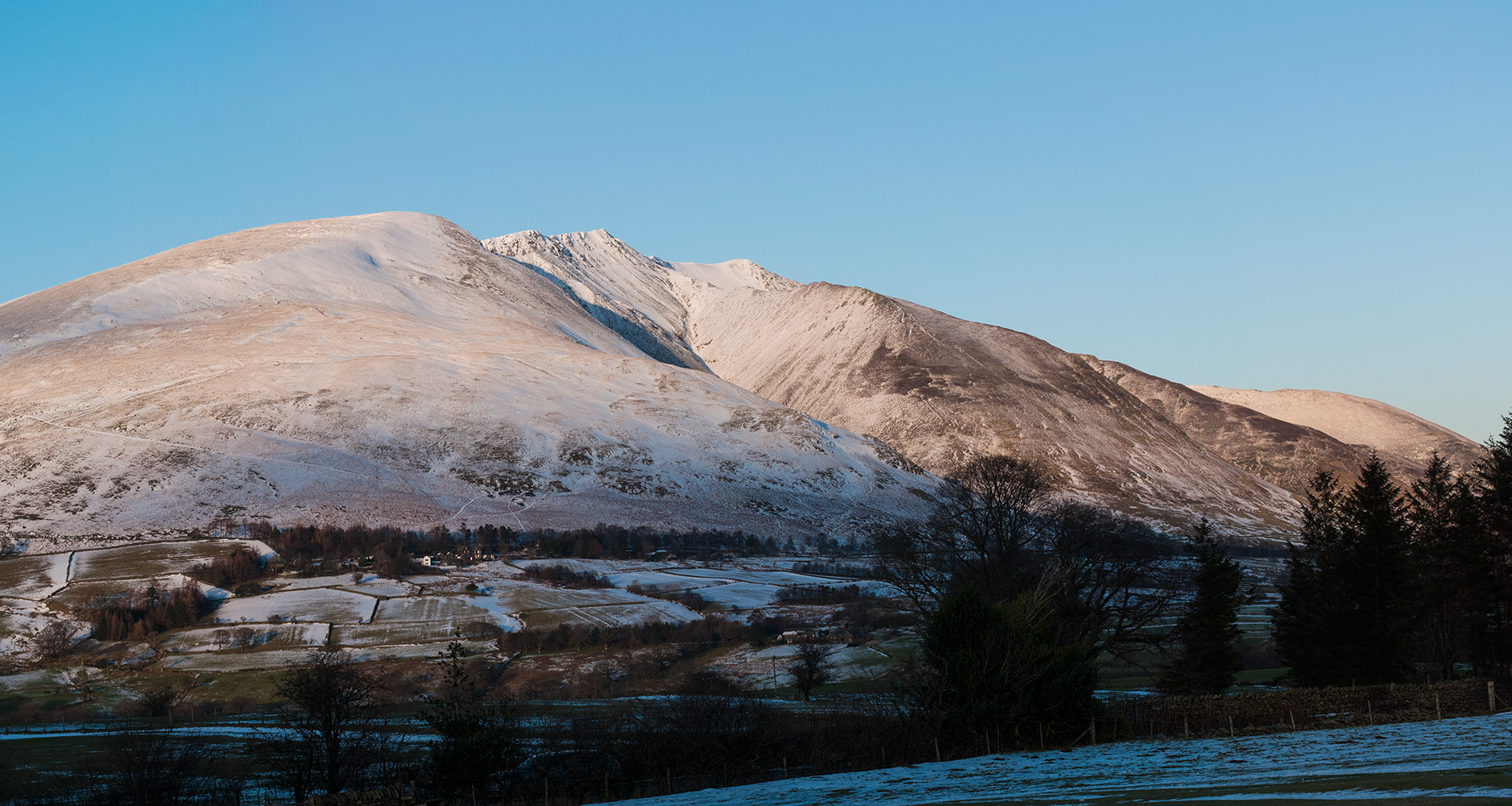 In winter, from Castlerigg Stone Circle outside Keswick
