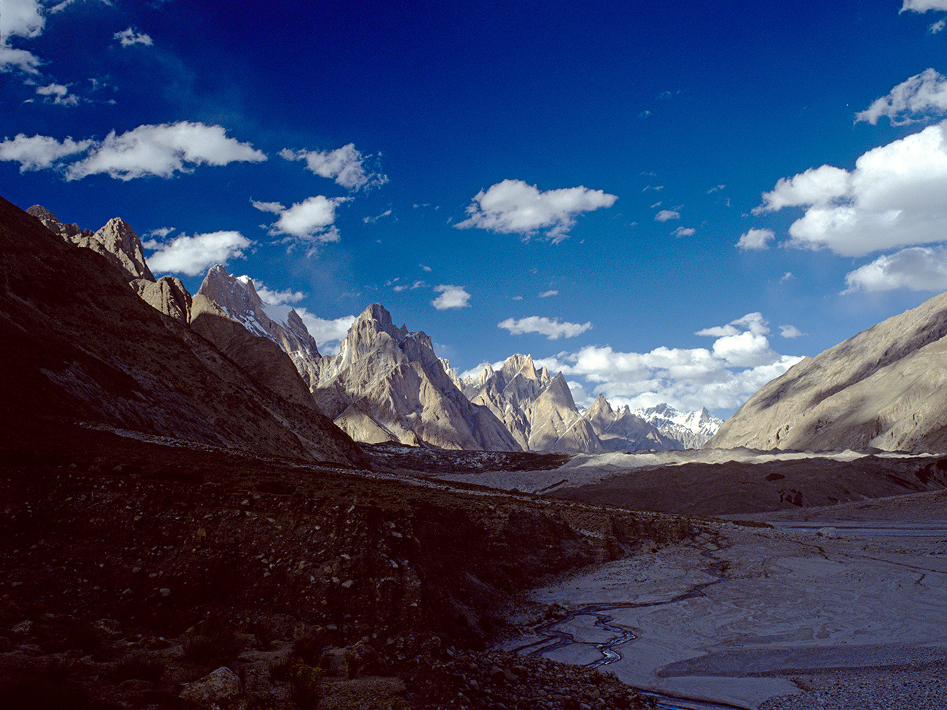 A view to the Cathdral Spires and the snout of the Baltoro glacier.