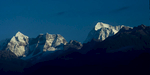 A telephoto of Makalu, with Baruntse peeping over the broad bulk of Peak 6 to the leftCanon A1, 135mm, Kodachrome 64