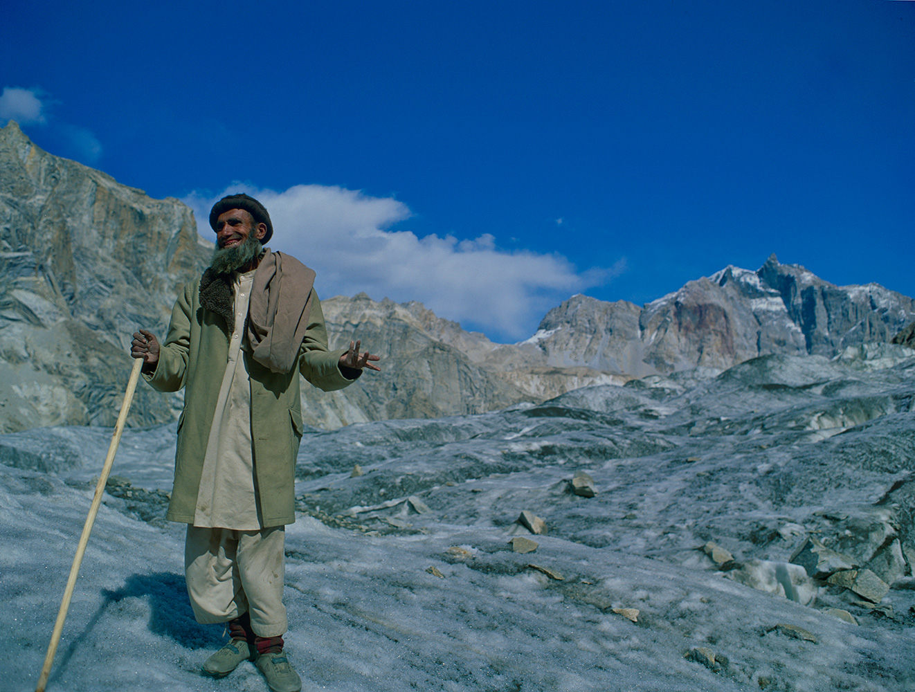 This man guided us across the glacier on my first trip to the area in 1992. Here, he is questioning the sanity of my companion, who was putting on his crampons!Bronica ETRSi, Fuji Velvia